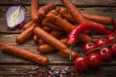 Salsicha fumado e vegetais Foto de Stock Royalty Free