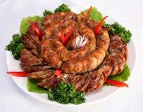 salsicha HOME-cozinhada Imagens de Stock