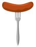 Salsicha na forquilha Foto de Stock Royalty Free