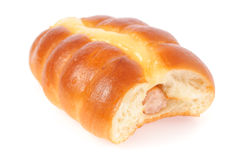 Salsicha no pão Imagens de Stock