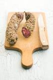 Salsicha secada com grão de pimenta Imagens de Stock