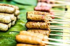 Salsicha tailandesa no chiangmai Tailândia foto de stock