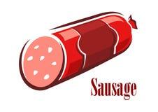 Salsicha vermelha do salame da carne dos desenhos animados Imagem de Stock Royalty Free