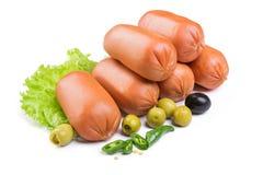 Salsichas com alface Fotos de Stock Royalty Free