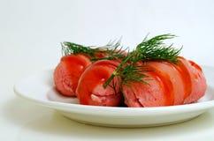 Salsichas cozinhadas Foto de Stock Royalty Free