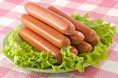 Salsichas de carne de porco apetitosas Fotografia de Stock