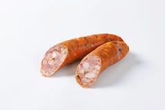 Salsichas de carne de porco fumado Fotografia de Stock