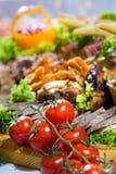 Salsichas diferentes servidas em um modo eficaz Foto de Stock Royalty Free