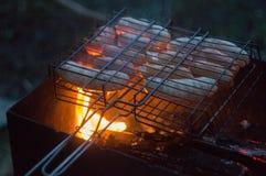 salsichas do BBQ em exterior Fotografia de Stock