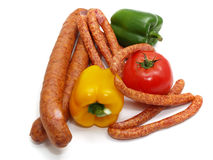 Salsichas e vegetais Imagem de Stock