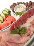 Salsichas e vegetais Assorted Imagens de Stock