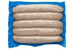 Salsichas em um saco de plástico fotografia de stock royalty free