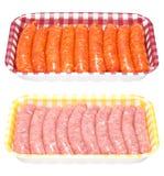 Salsichas frescas em uma bandeja Foto de Stock Royalty Free