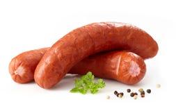 Salsichas fumadas deliciosas Fotografia de Stock