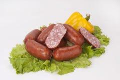 Salsichas fumado (salsicha) Imagens de Stock Royalty Free