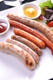 Salsichas grelhadas fotos de stock
