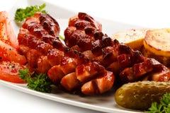 Salsichas grelhadas Fotografia de Stock