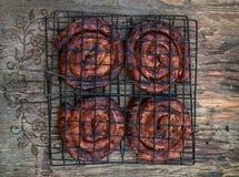 Salsichas grelhadas BBQ Fotografia de Stock