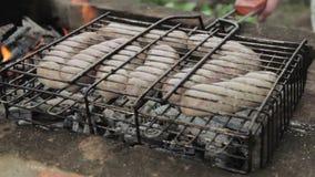 Salsichas grelhadas sobre um fogo em um piquenique filme