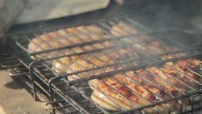 Salsichas grelhadas sobre um fogo em um piquenique video estoque
