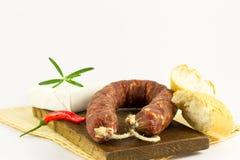 Salssicia, багет, сыр Стоковые Фото