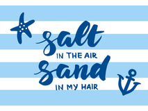 Salt in the air, sand in my hair summer card Stock Image