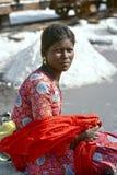Salt arbeten, Sambhar salt lake, Rajasthan, Indien Arkivfoton