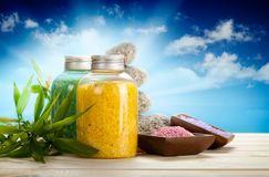 salt aromatherapy bad Arkivbild