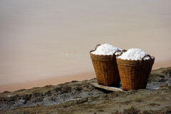 Salt in bamboo basket, Thailand Stock Images