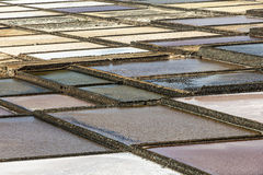 Salt basins in saline de Janubio Royalty Free Stock Photos