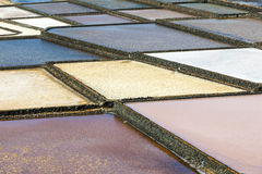 Salt basins in saline de Janubio Royalty Free Stock Image