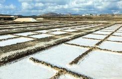 Salt basins in saline de Janubio Royalty Free Stock Photography