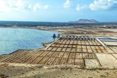 Salt basins in saline de Janubio Royalty Free Stock Photo
