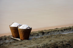 Salt in basket, Thailand Royalty Free Stock Photography