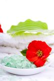 Salt for a bathroom. With a flower Royalty Free Stock Photo
