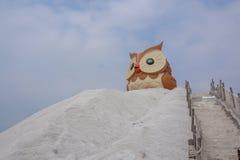 Salt berg- och ugglastaty i Qigu det salta berget, Taiwan Arkivfoton