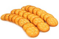 Salt biscuit. Salty cracker biscuit on white background stock photography
