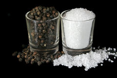 Salt and black pepper Royalty Free Stock Image