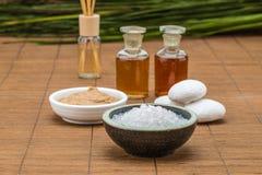 Salt bowl, essential oil, mask white stone for health spa materi Stock Images