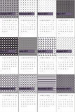Salt box and cod gray colored geometric patterns calendar 2016 Stock Images