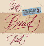 SALT / BREAD / FISH hand lettering (vector) Stock Photos