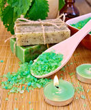 Salt and candles with nettles in mortar on board Stock Photo