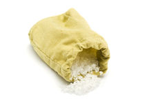 Salt in canvas bag Royalty Free Stock Photos