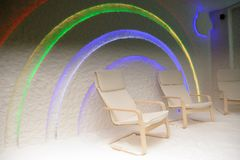 Salt Cave. Photo of a salt cave design with a rainbow on the wall Stock Image