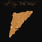 Salt Cay, Turks Islands map filled with golden. Royalty Free Stock Photography