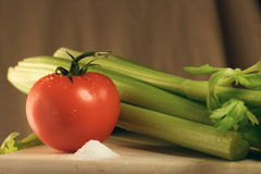 Salt, Celery and Tomato. Tomato and Celery Fresh for a Salad Stock Photos
