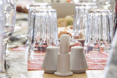 A Salt-cellar, pepper-pot & toothpicks on banquet table. Royalty Free Stock Photography