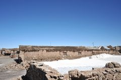 The salt cellars on lake Uyuni. Royalty Free Stock Image