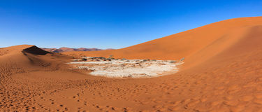 Salt and clay pan in the sand dunes namib desert. Royalty Free Stock Images