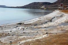 Salt at coast in Dead Sea, Israel Stock Photos